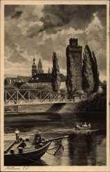 Künstler Ak Hoffmann, H., Heilbronn in Baden Württemberg, Flusspartie, Brücke