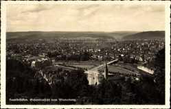 Postcard Saarbrücken im Saarland, Gesamtansicht vom Winterberg, Straße