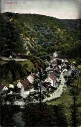 Postcard Treseburg Thale im Harz, Blick über den Ort, Fluss, Berg, Wald