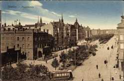 Postcard Szczecin Stettin Pommern, Paradeplatz, Straßenbahn, Vogelschau