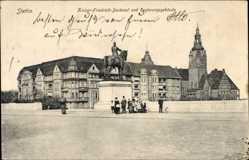 Postcard Szczecin Stettin Pommern, Kaiser Friedrich Denkmal, Regierungsgebäude