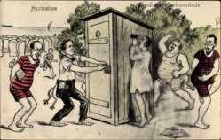 Künstler Ak Świnoujście Swinemünde Pommern, Hochsaison, Toilette