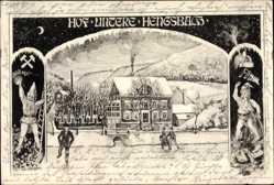 Ak Hengsbach Eisfeld Siegen, Hof Unsere Hengsbach, Schlittschuhe, Zwerge,Bergbau