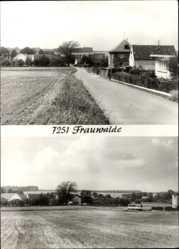 Ak Frauwalde Lossatal, Straßenpartie, Blick auf das Feld