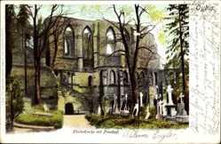 Postcard Oybin in Sachsen, Blick auf die Klosterkirche und den Friedhof
