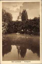 Postcard Bad Lauchstädt im Saalekreis, Teichpartie mit Turm