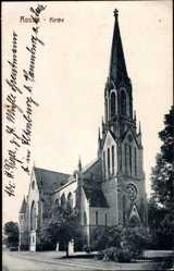 Postcard Rossla Südharz, Teilansicht der Kirche, Fensterrose