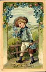 Postcard Glückwunsch Pfingsten, Junge mit Korb voll Blumen, EAS