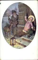 Künstler Ak Schubert, H., Weihnachtsmann mit Geschenken, Reh, Mädchen