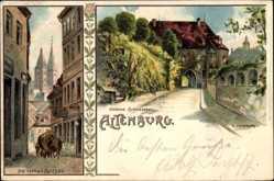 Künstler Litho Dutzauer, Altenburg in Thüringen, Die roten Spitzen, Schlosstor