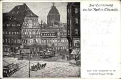 Künstler Ak Kunze, Alfred, Chemnitz Sachsen, Blick vom Neumarkt, F. August Str.
