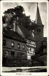 Foto Ak Mehren im Westerwald, Straßenpartie mit Blick auf Kirche, Geschäft