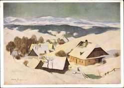 Künstler Ak Paupie W., Altvatergebirge, Dorf, Häuser