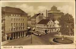 Postcard Dortmund im Ruhrgebiet, Straßenbahn passiert den Körnerplatz