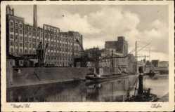 Postcard Neuss in Nordrhein Westfalen, Hafenblick mit Kränen
