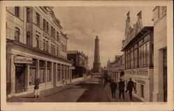 Postcard Insel Borkum im Kreis Leer, Strandstraße mit Leuchtturm, Strand Kasino