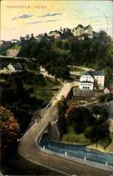 Postcard Wolkenstein im Erzgebirge, Straßenpartie, Flusspartie, Ortschaft