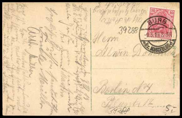 Rückseite Ansichtskarte / Postkarte Burg bei Magdeburg, Blick zum Seeschlößchen, 1919