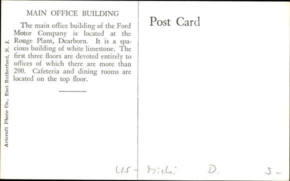 Ansichtskarte postkarte dearborn michigan usa ford for Ford motor company main office