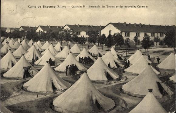 Postcard sissonne aisne camp quartier b ensemble des for Sissonne 02