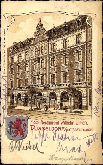 wappen ansichtskarte postkarte d sseldorf am rhein hotel restaurant wilhelm ulrich. Black Bedroom Furniture Sets. Home Design Ideas