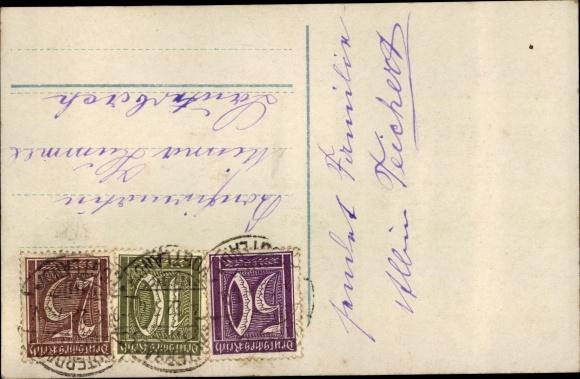 Backside Postcard Glückwunsch Konfirmation, Mädchen Mit Bibel, Glocken,  Blühende Zweige