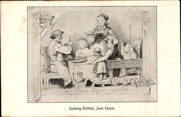 k nstler ansichtskarte postkarte richter ludwig zum essen familie am esstisch k. Black Bedroom Furniture Sets. Home Design Ideas