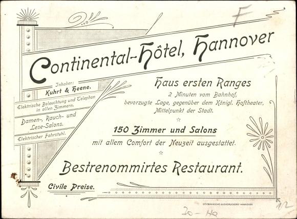 k nstler ansichtskarte postkarte hannover in niedersachsen continental hotel inh. Black Bedroom Furniture Sets. Home Design Ideas