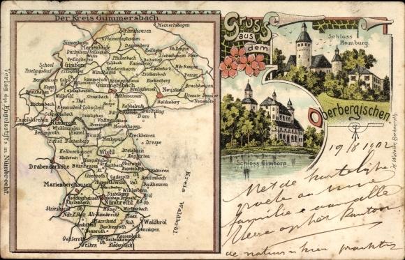 Landkarten Litho Numbrecht Kreis Gummersbach Schloss Akpool De