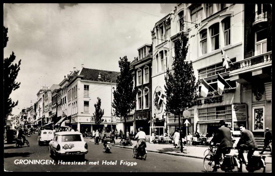 ansichtskarte postkarte groningen niederlande herestreat met hotel frigge. Black Bedroom Furniture Sets. Home Design Ideas