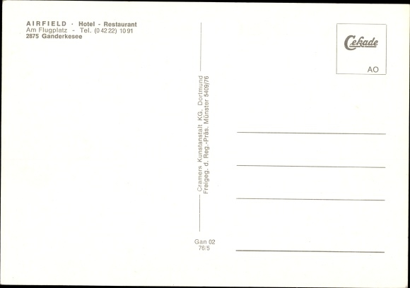 Postcard Ganderkesee In Niedersachsen Flugplatz Aus Akpool Co Uk