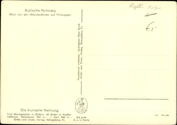 Kurische Nehrung Karte.Ansichtskarte Postkarte Kurische Nehrung Ostpreußen Akpool De