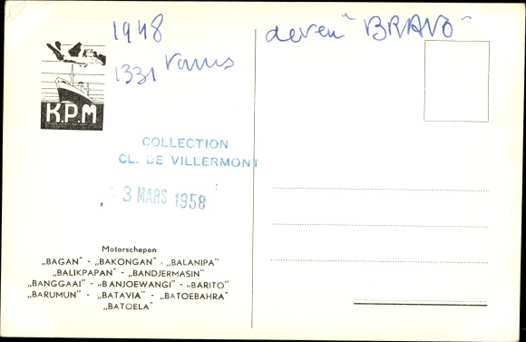 Postcard MS Banjoewangi, KPM | akpool co uk