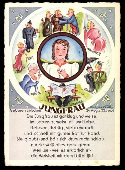 ansichtskarte postkarte sternzeichen jungfrau gedicht beobachtend listig. Black Bedroom Furniture Sets. Home Design Ideas