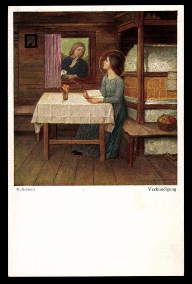 Künstler Ak Schiestl M., Verkündigung, Engel, Maria