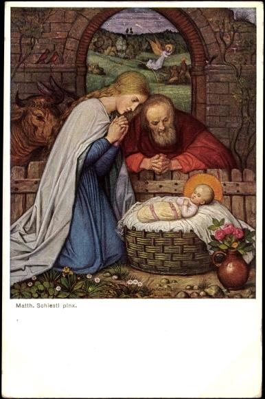 Künstler Ak Schiestl M., Heilige Familie, Jesus, Maria