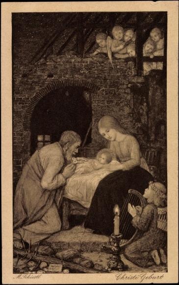Künstler Ak Schiestl M., Christi Geburt, Maria, Engel