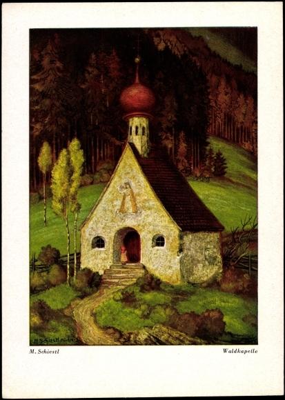 Künstler Ak Schiestl M., Waldkapelle, Mädchen, Berge