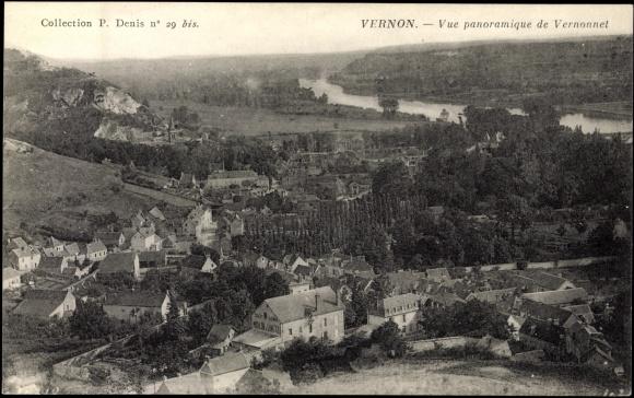 Carte postale Vernon CPA27, Vue panoramique de Vernonnet, fôrét