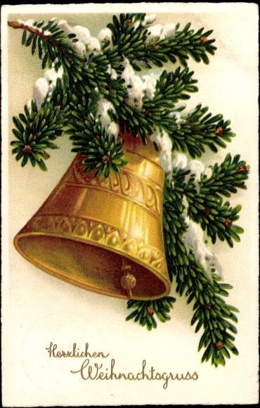 litho gl ckwunsch weihnachten tannenzweig glocke. Black Bedroom Furniture Sets. Home Design Ideas