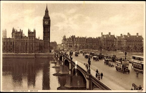 ansichtskarte postkarte london westminster brigde and. Black Bedroom Furniture Sets. Home Design Ideas
