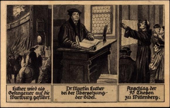 ansichtskarte postkarte dr martin luther bersetzt die bibel 95 thesen. Black Bedroom Furniture Sets. Home Design Ideas