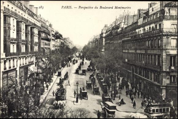 postcard paris perspective du boulevard montmartre maisons. Black Bedroom Furniture Sets. Home Design Ideas