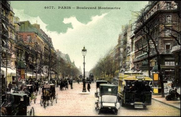 ansichtskarte postkarte paris boulevard montmartre les. Black Bedroom Furniture Sets. Home Design Ideas