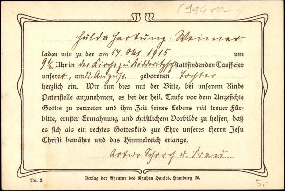Postcard Einladung Zur Taufe 1915, Matthäus Mit Spruch | Akpool.co.uk,