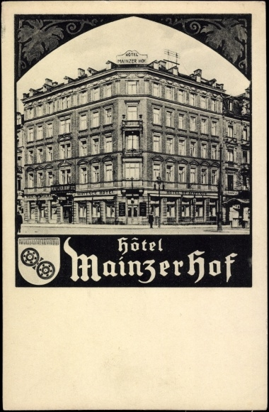 ansichtskarte postkarte mainz blick aufs hotel mainzer. Black Bedroom Furniture Sets. Home Design Ideas