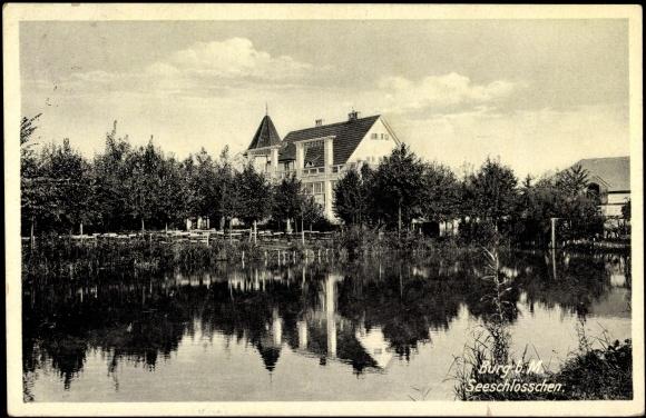Ansichtskarte / Postkarte Burg b Magdeburg, Blick zum Seeschlösschen v Ufer
