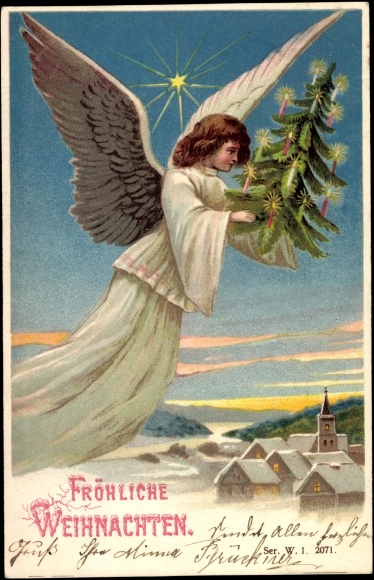 ansichtskarte postkarte frohe weihnachten engel mit. Black Bedroom Furniture Sets. Home Design Ideas