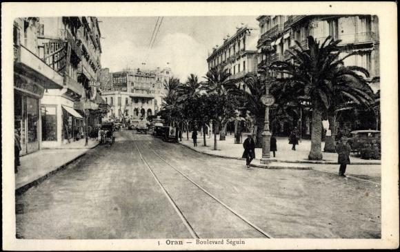 ansichtskarte postkarte oran algerien boulevard s guin z mor gesch fte. Black Bedroom Furniture Sets. Home Design Ideas