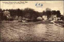 Postcard Plau, Blick zum Kurhaus Silbermühle, Plauer See